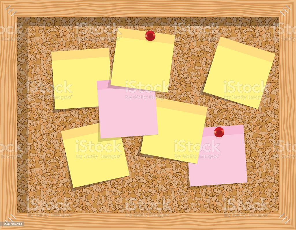 Cork board  with sheets of paper for notes vector art illustration