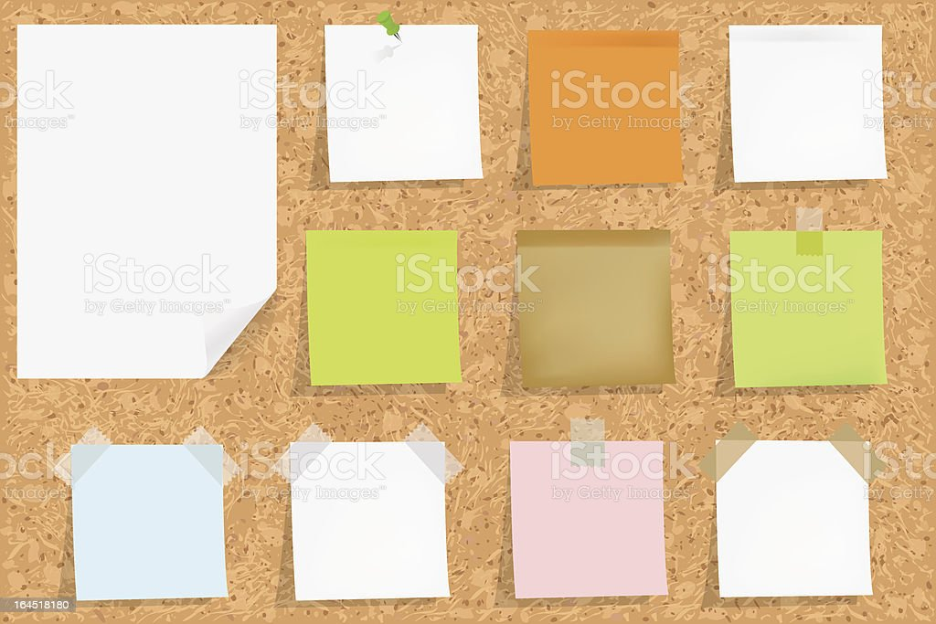 Cork bulletin board with sticky notes royalty-free stock vector art