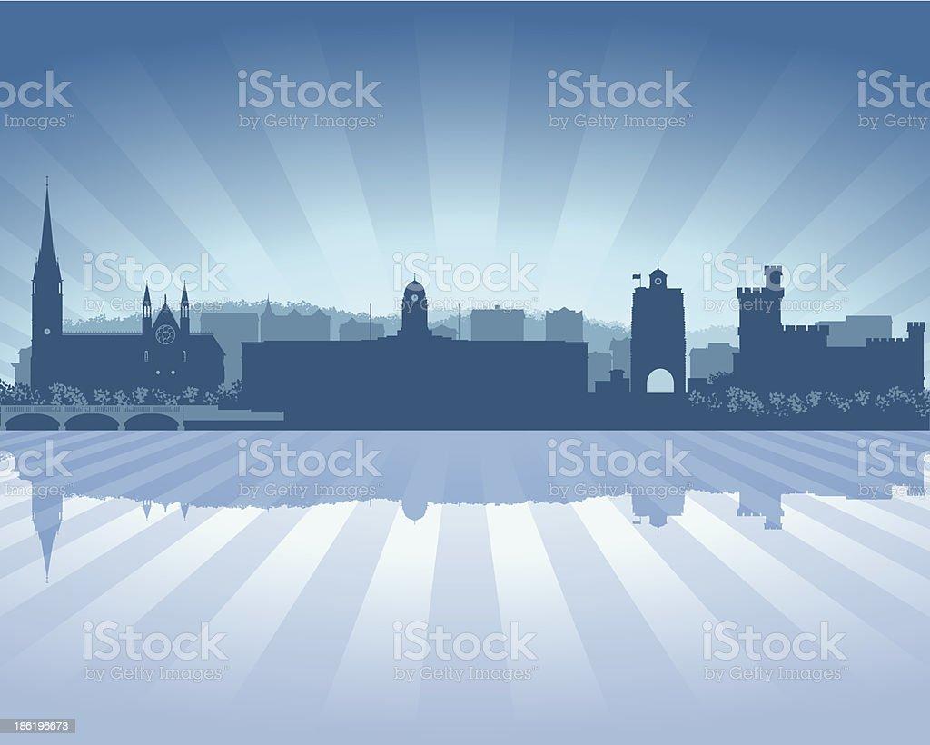 Cork Ireland Blue City skyline silhouette vector art illustration