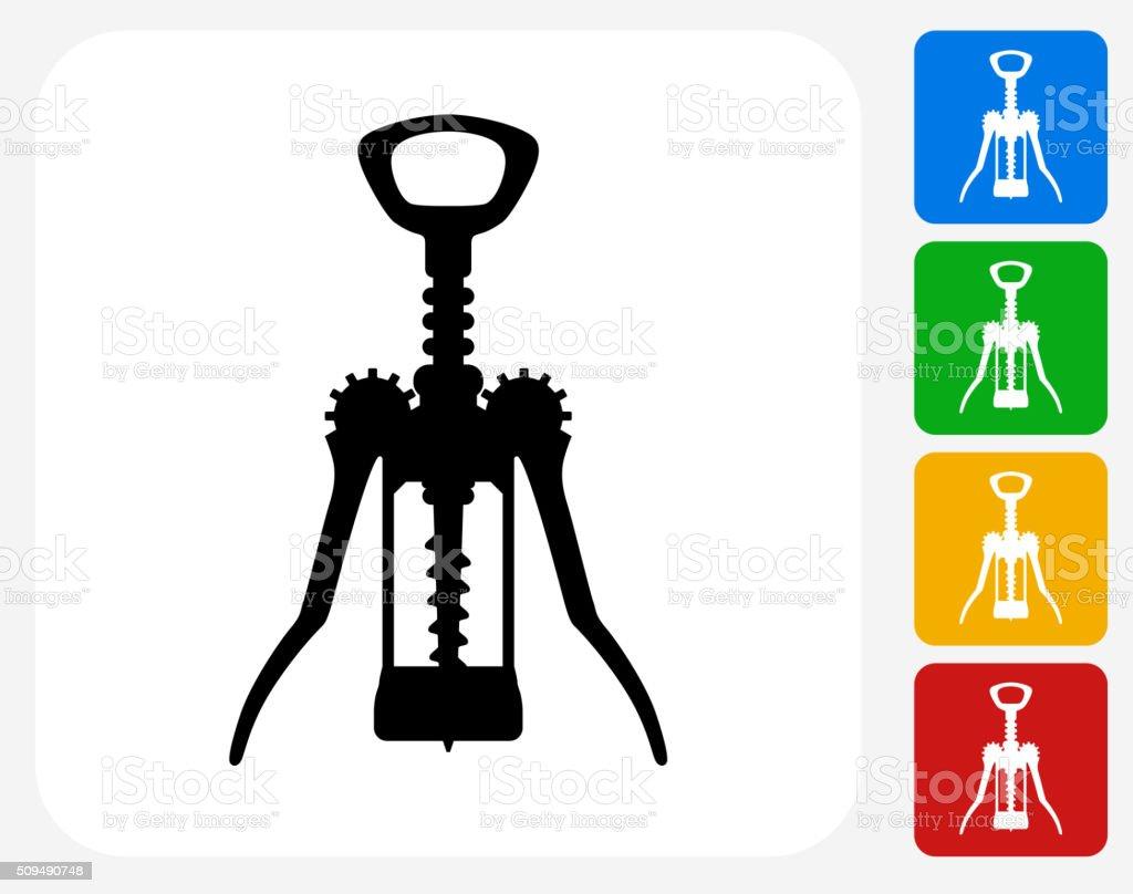 Cork Opener Icon Flat Graphic Design vector art illustration