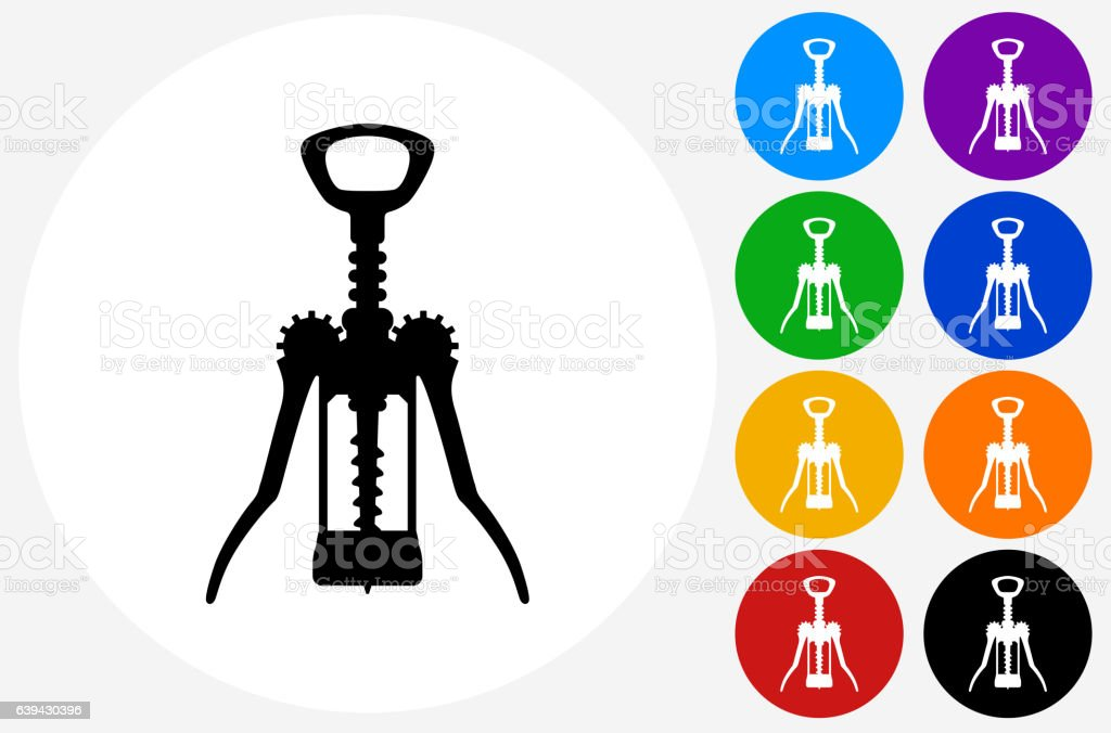 Cork Opener Icon on Flat Color Circle Buttons vector art illustration