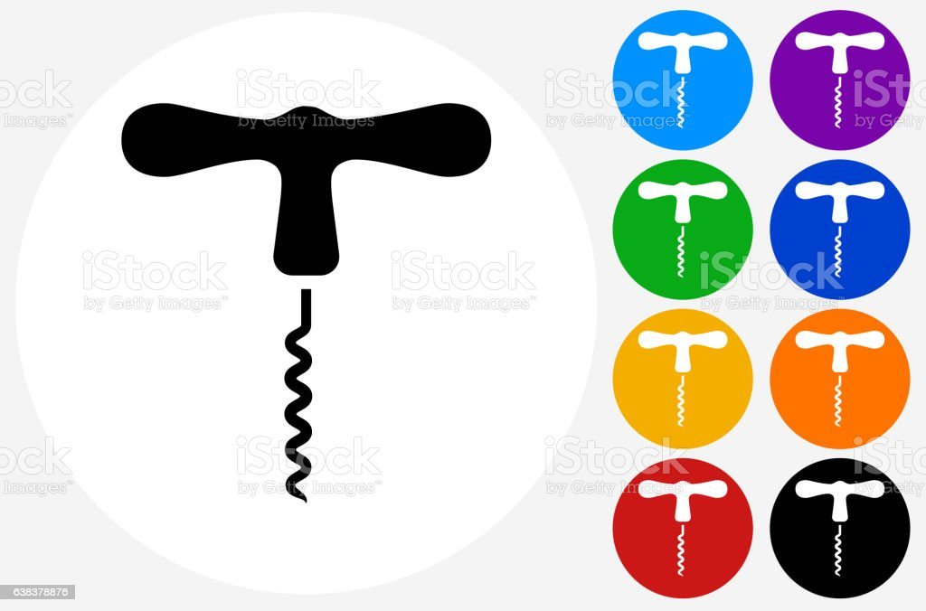 Cork Screw Icon on Flat Color Circle Buttons vector art illustration