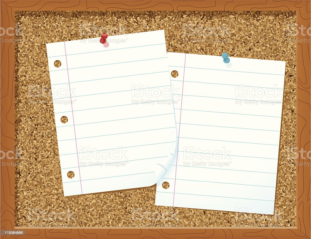 corkboard with blank paper - vector illustration royalty-free stock vector art