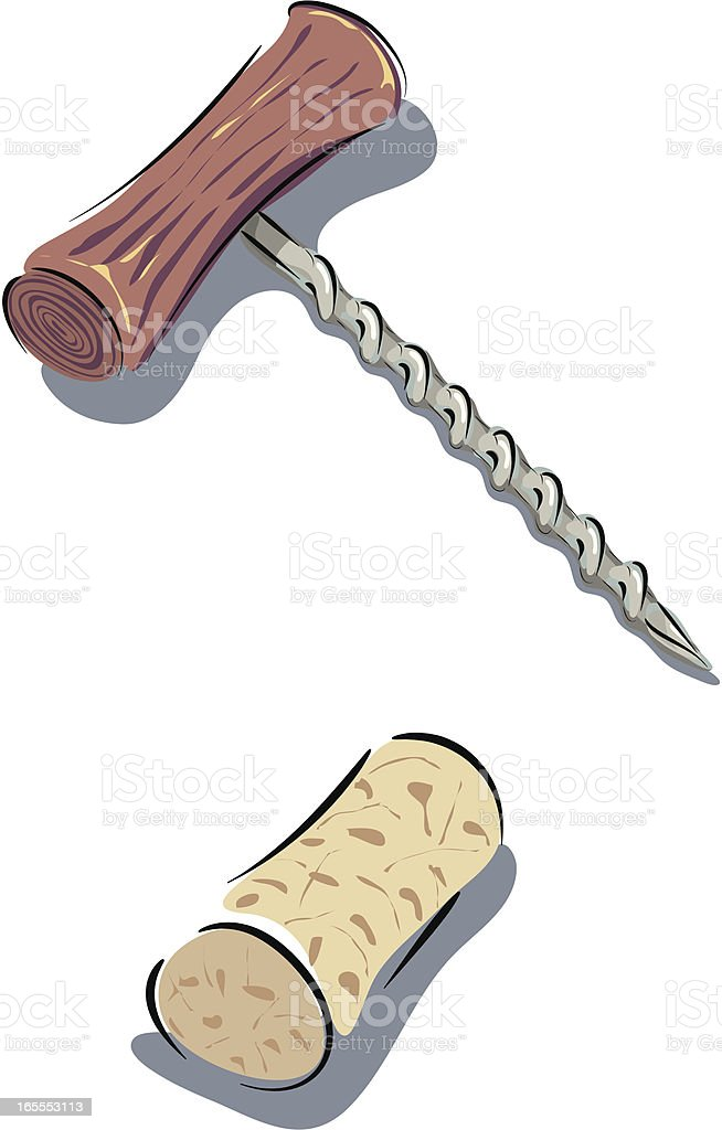Corkscrew and Cork on White. vector art illustration