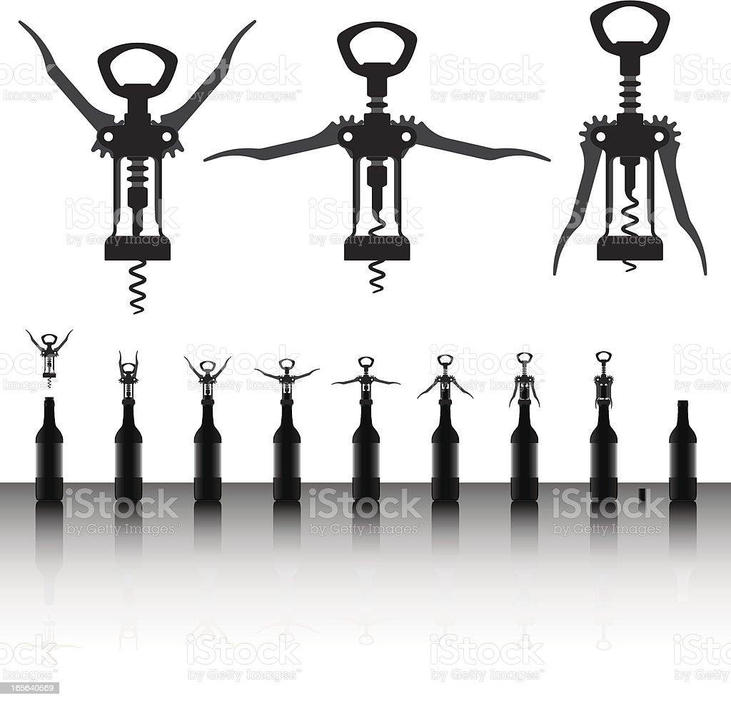 corkscrew silhouette vector art illustration