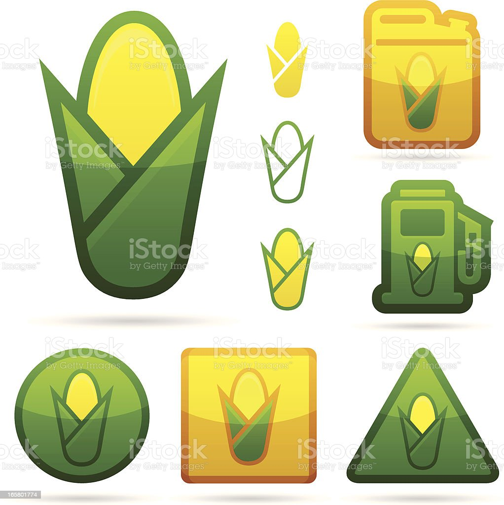 Corn and Ethanol Icons royalty-free stock vector art