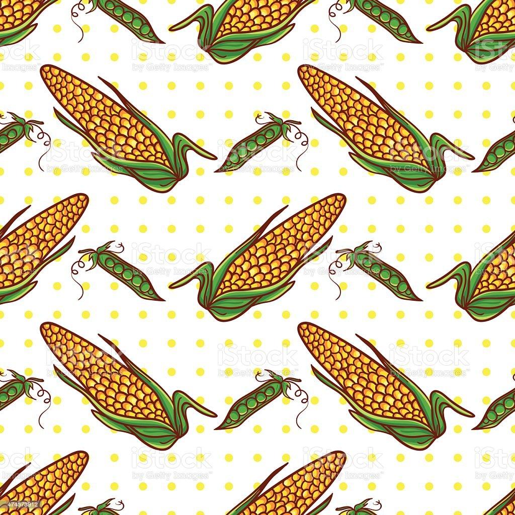 Corn and peas pattern vector art illustration
