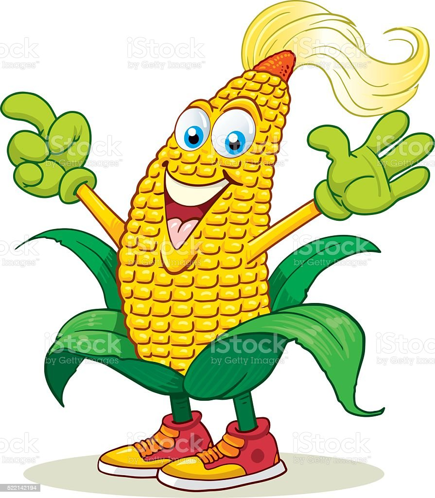 Corn Cartoon Mascot vector art illustration