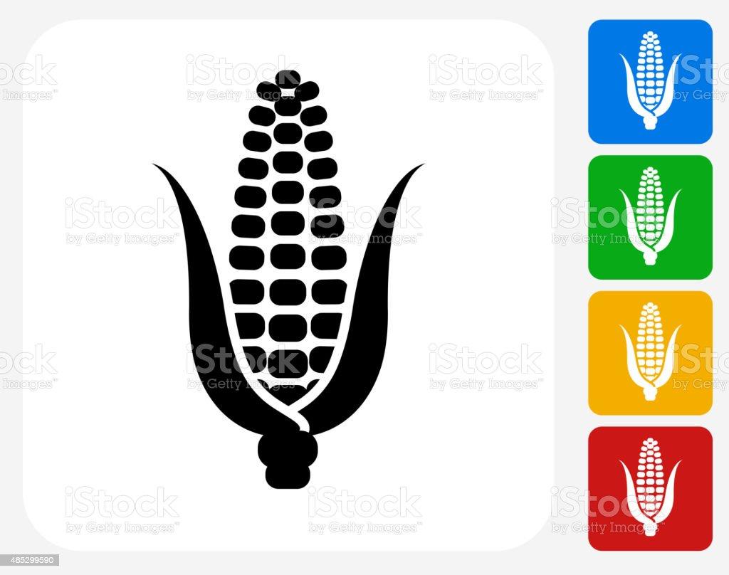 Corn Cob Icon Flat Graphic Design vector art illustration