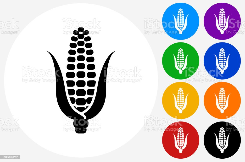 Corn Cob Icon on Flat Color Circle Buttons vector art illustration