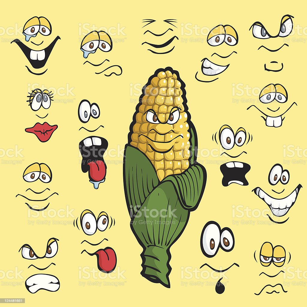 Corn Expressions vector art illustration