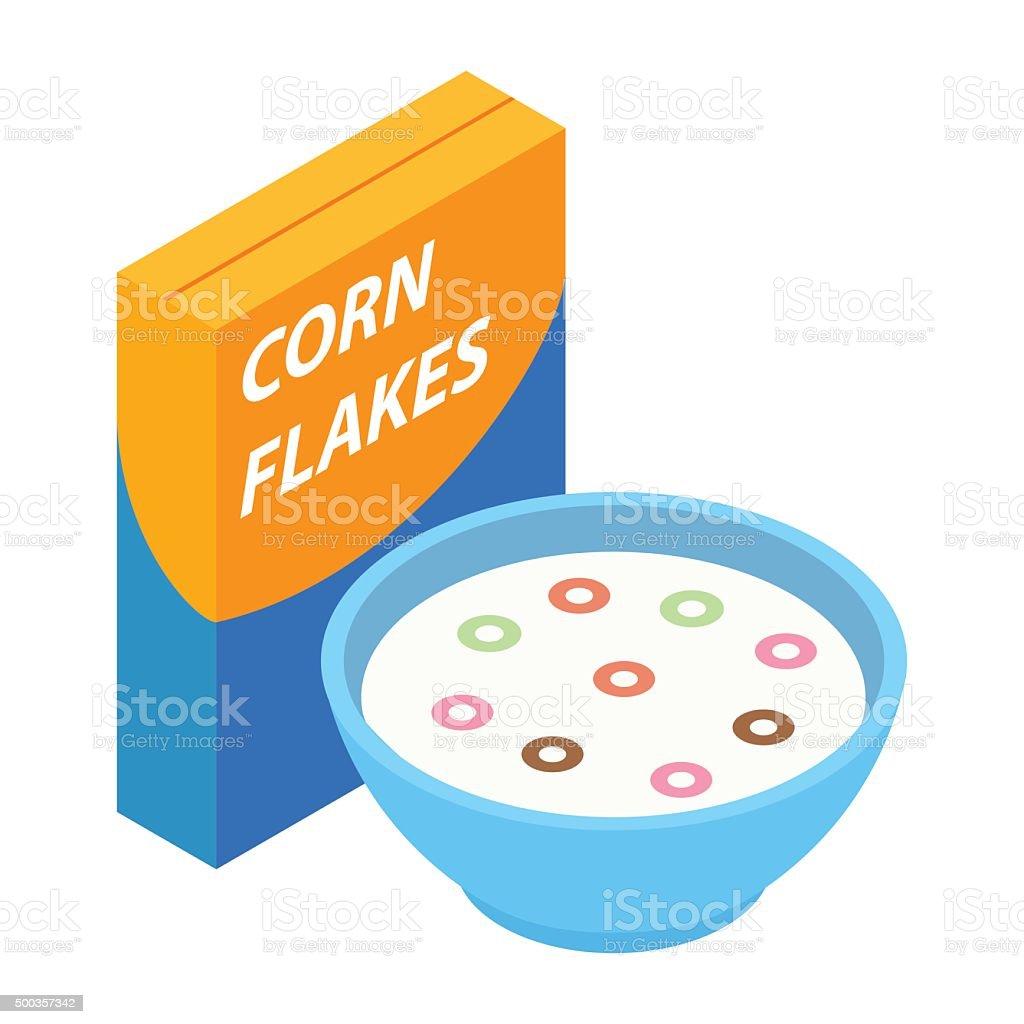 Corn flakes isometric 3d icon vector art illustration