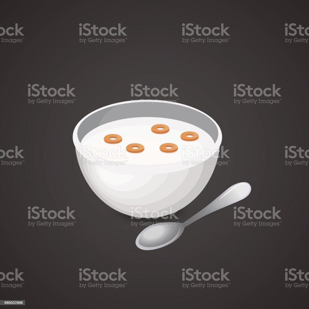 Corn flakes, muesli icon isolated on neutral background. vector art illustration