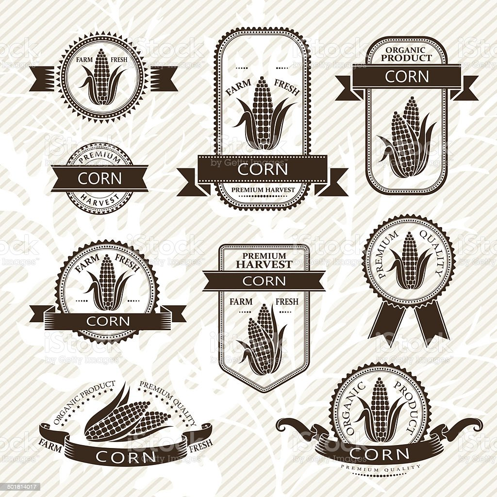 Corn labels vector art illustration