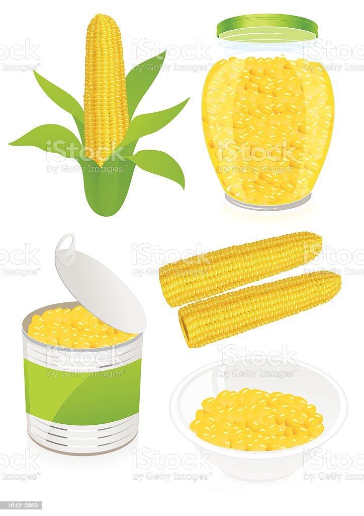 Corn object set vector art illustration