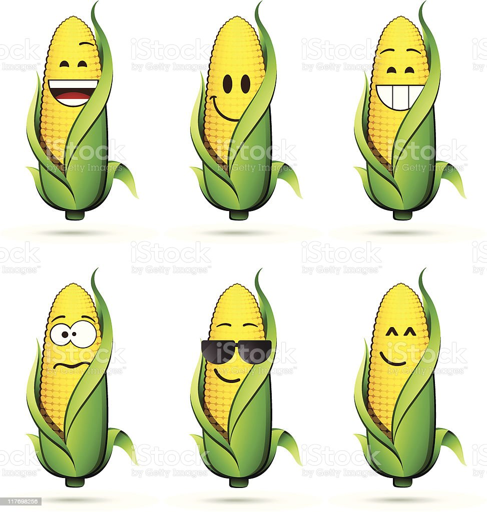 Corn on the cob characters vector art illustration