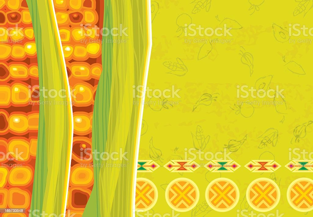 Corn on Traditional Mexican Background vector art illustration