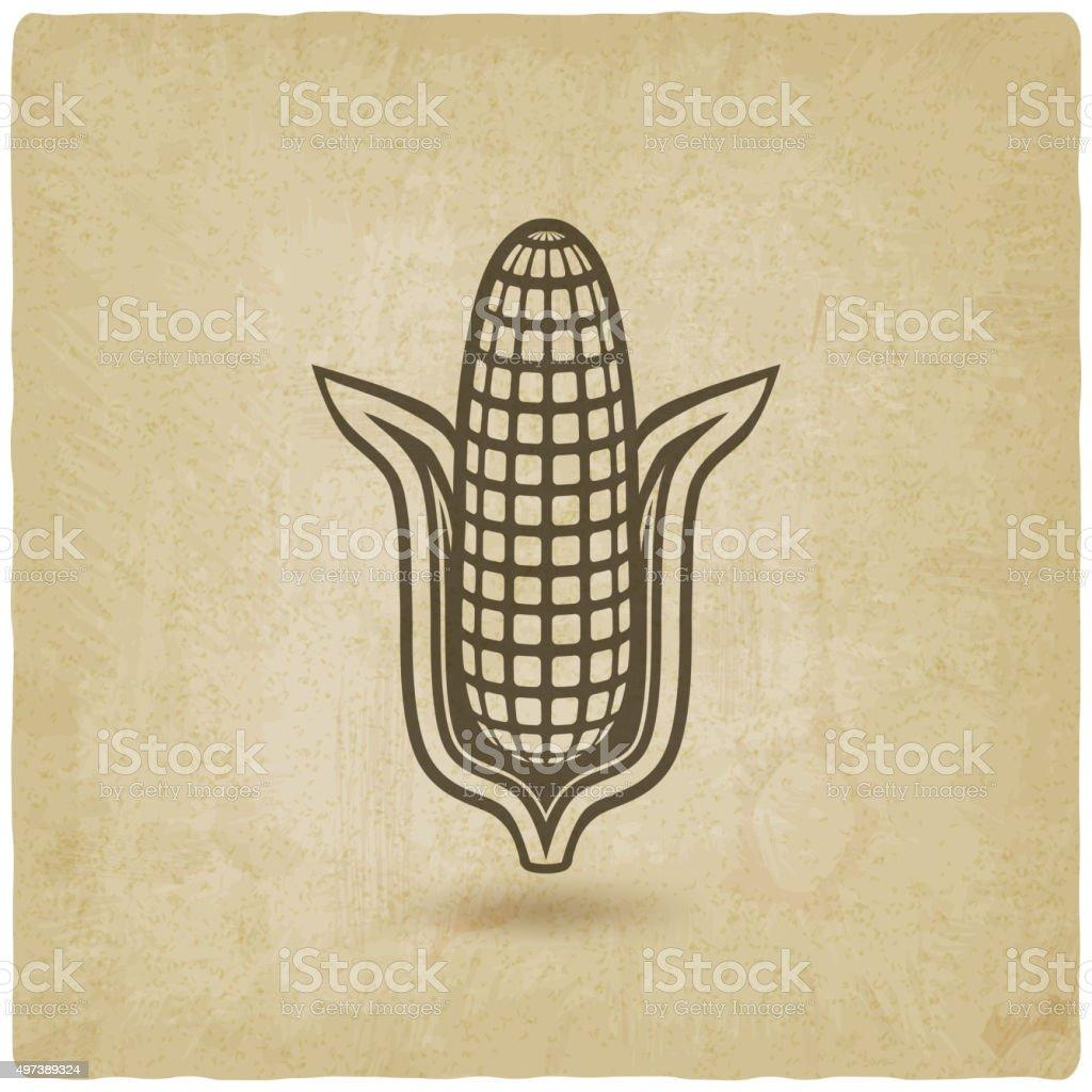 corn symbol old background vector art illustration