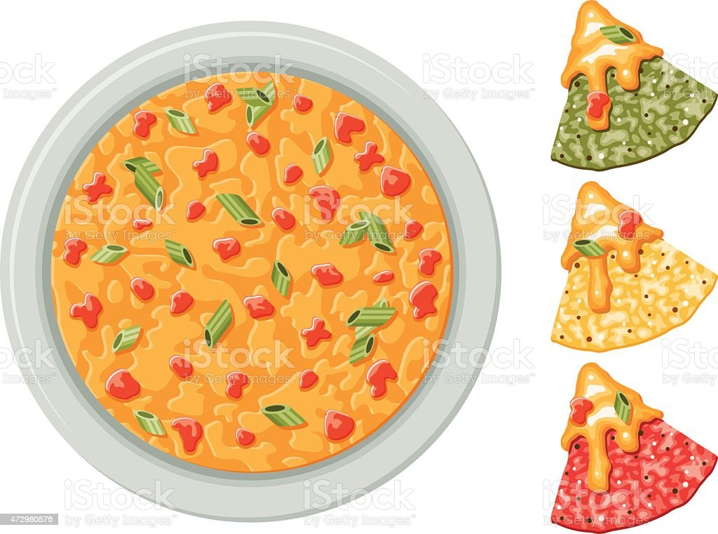Corn Tortilla Chips with Queso Dip vector art illustration