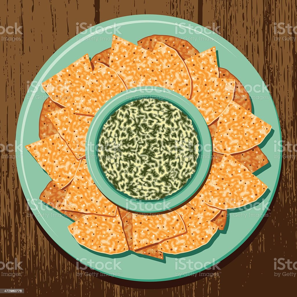 Corn Tortilla Chips with Spinach Dip vector art illustration