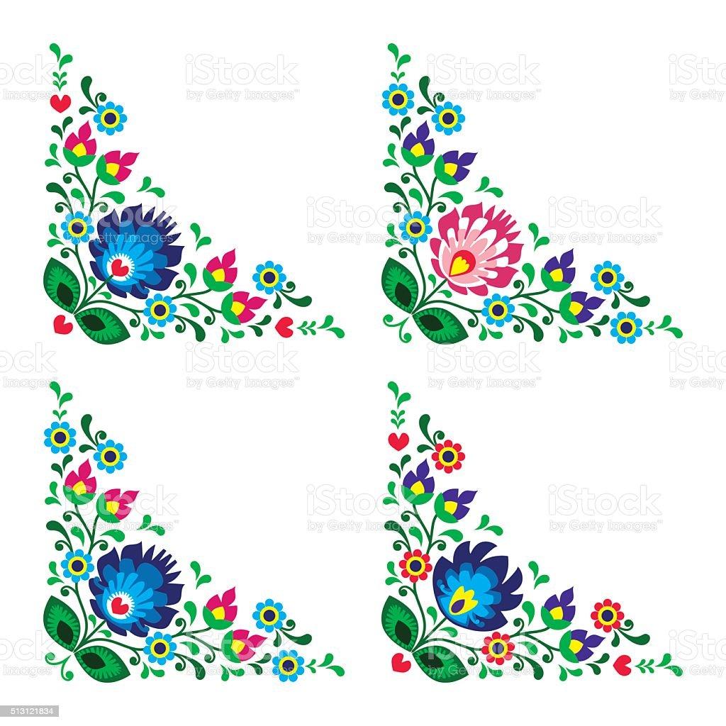 Corner border Polish floral folk art vector art illustration