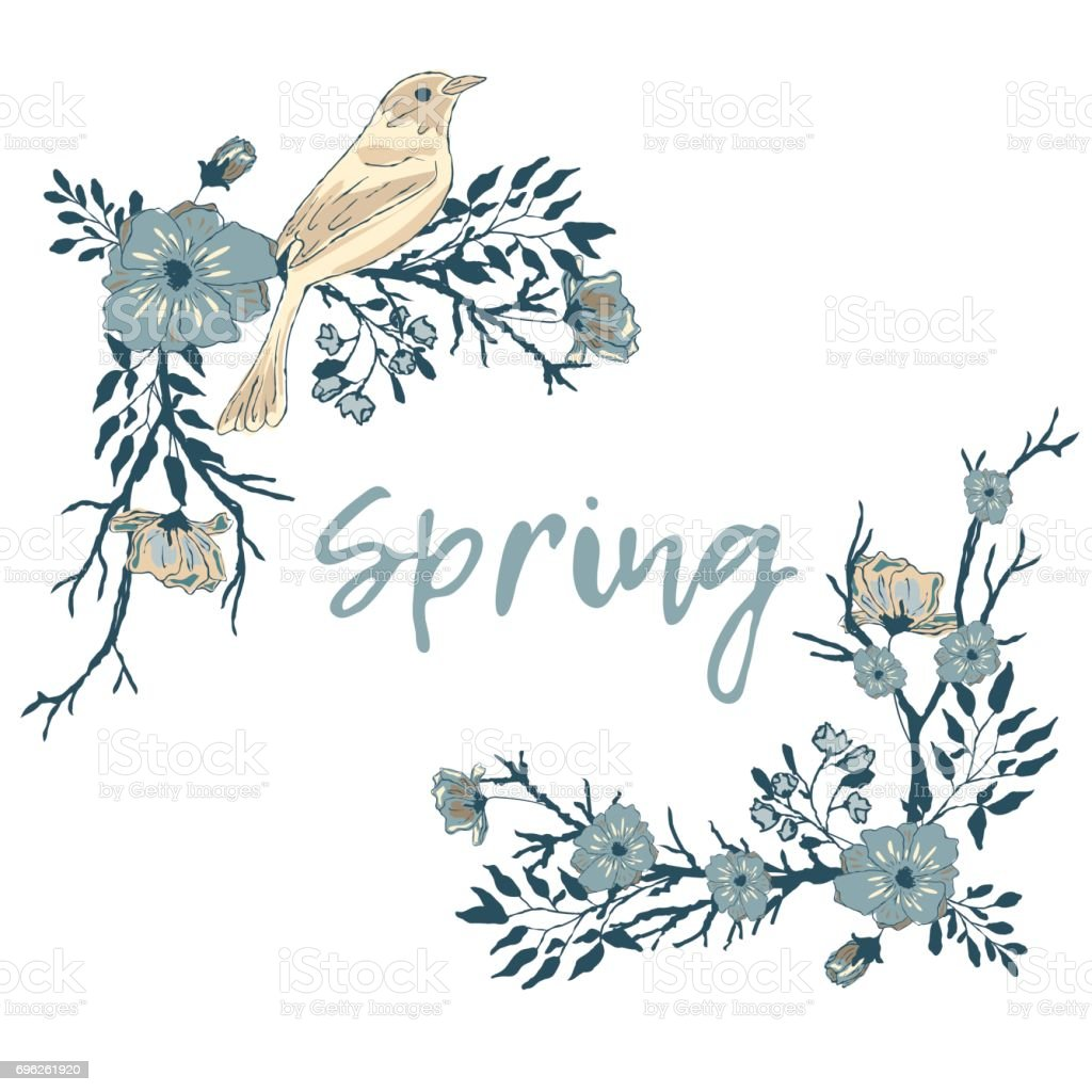 Corner border with a bird, flowers and tree branches. vector art illustration