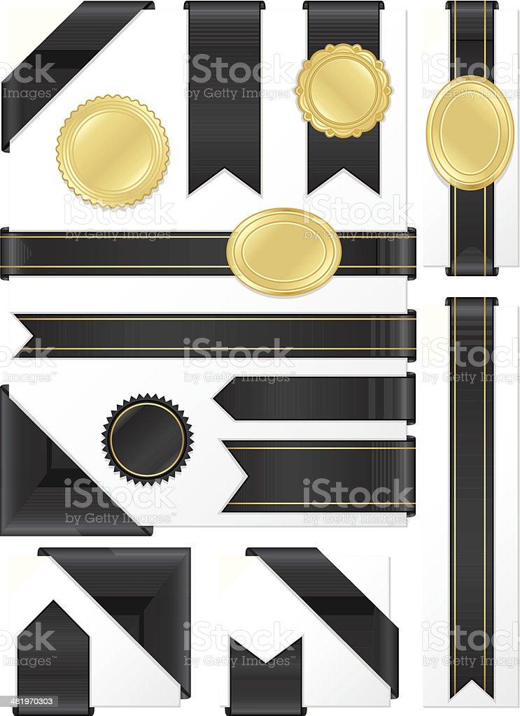Corner, Edge Ribbons, Labels, Stickers Set: Shiny Black Satin, Gold vector art illustration
