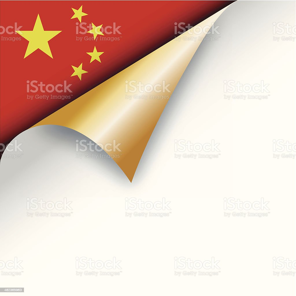 Corner page turn - Chinese flag royalty-free stock vector art