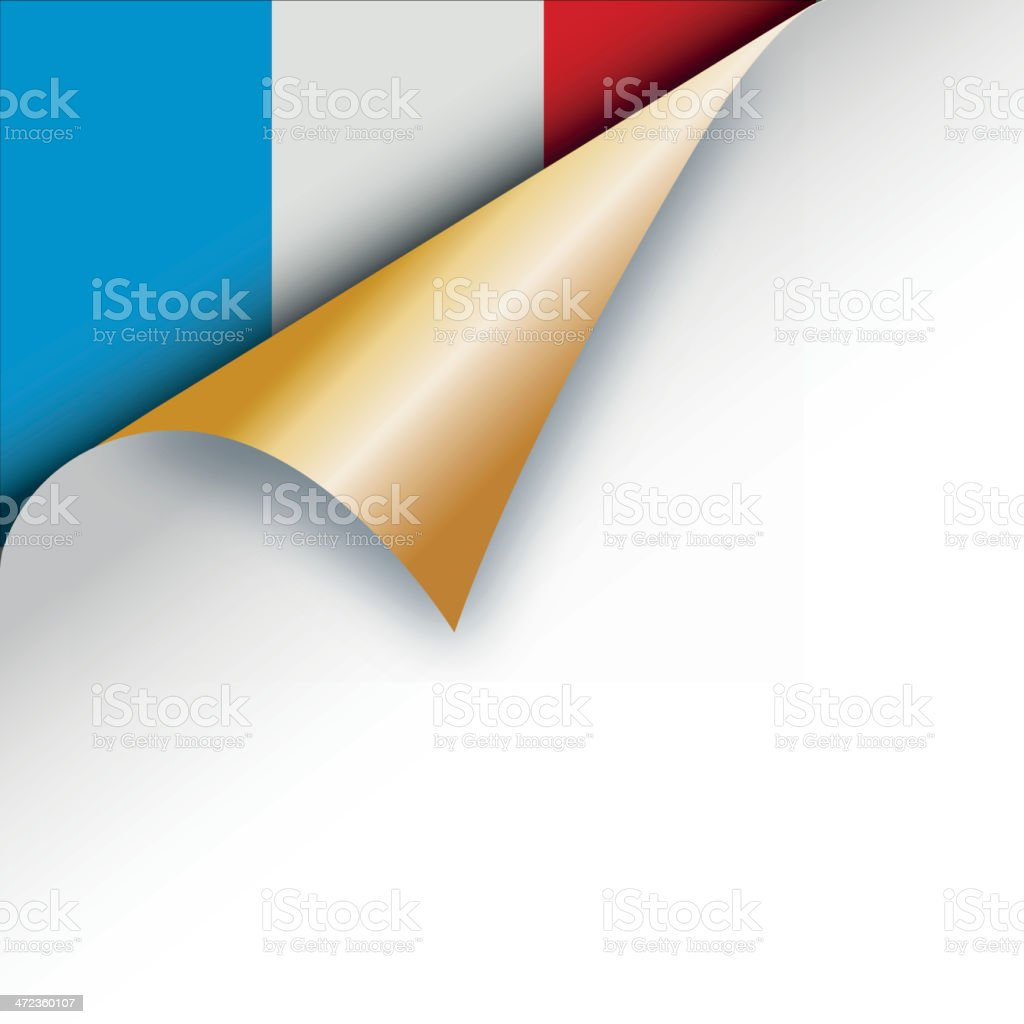 Corner page turn - French flag royalty-free stock vector art