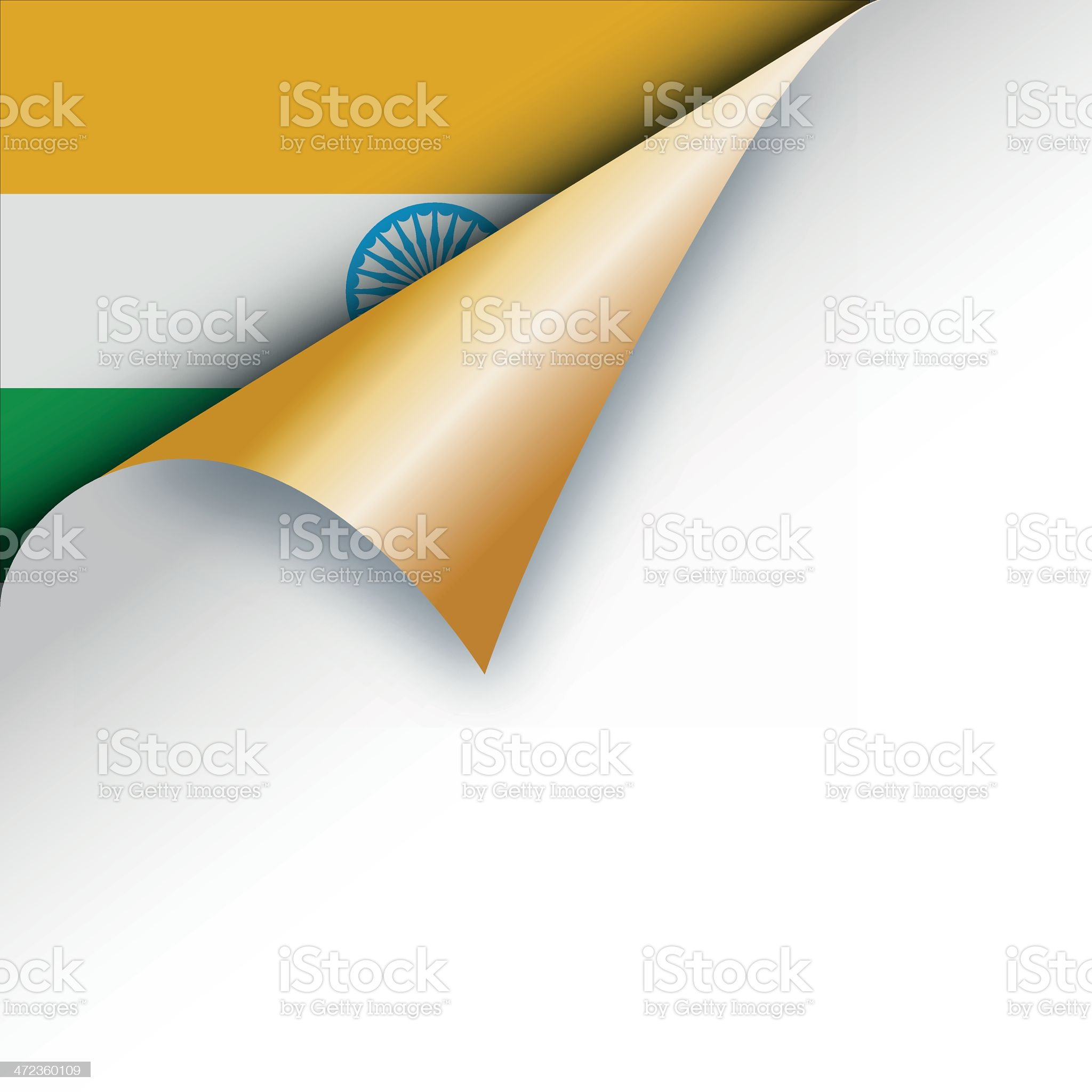 Corner page turn - Indian flag royalty-free stock vector art