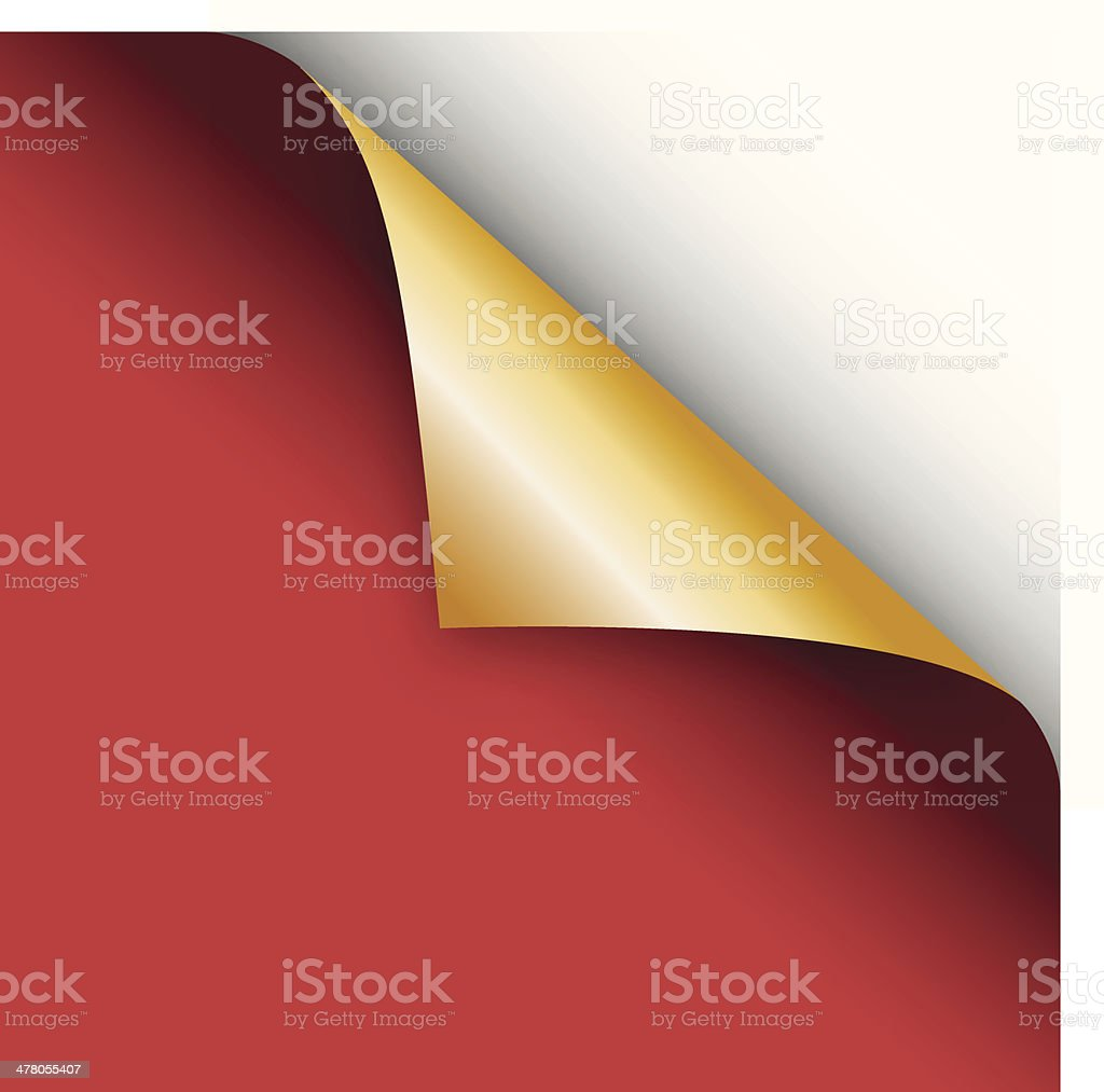 Corner page turn red and gold vector art illustration