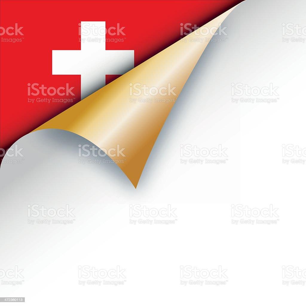 Corner page turn - swiss flag royalty-free stock vector art