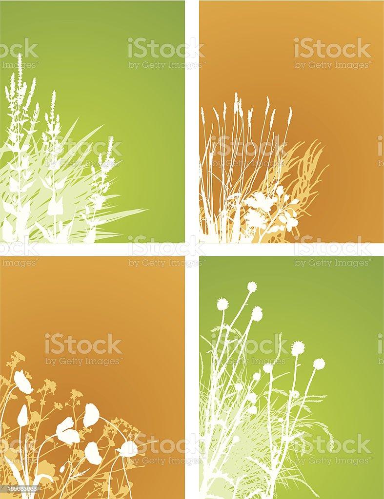 Corner plants collection vector art illustration