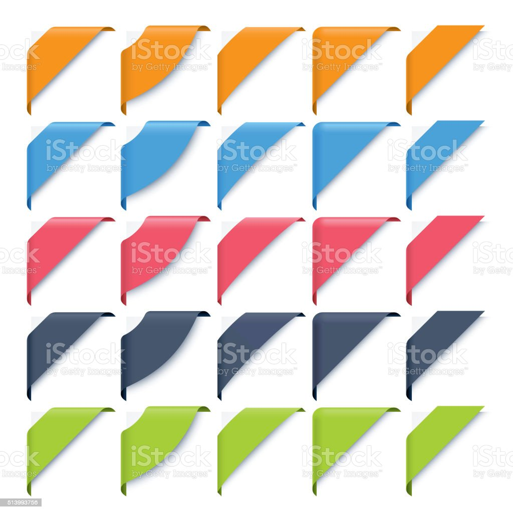 corner ribbons set vector art illustration