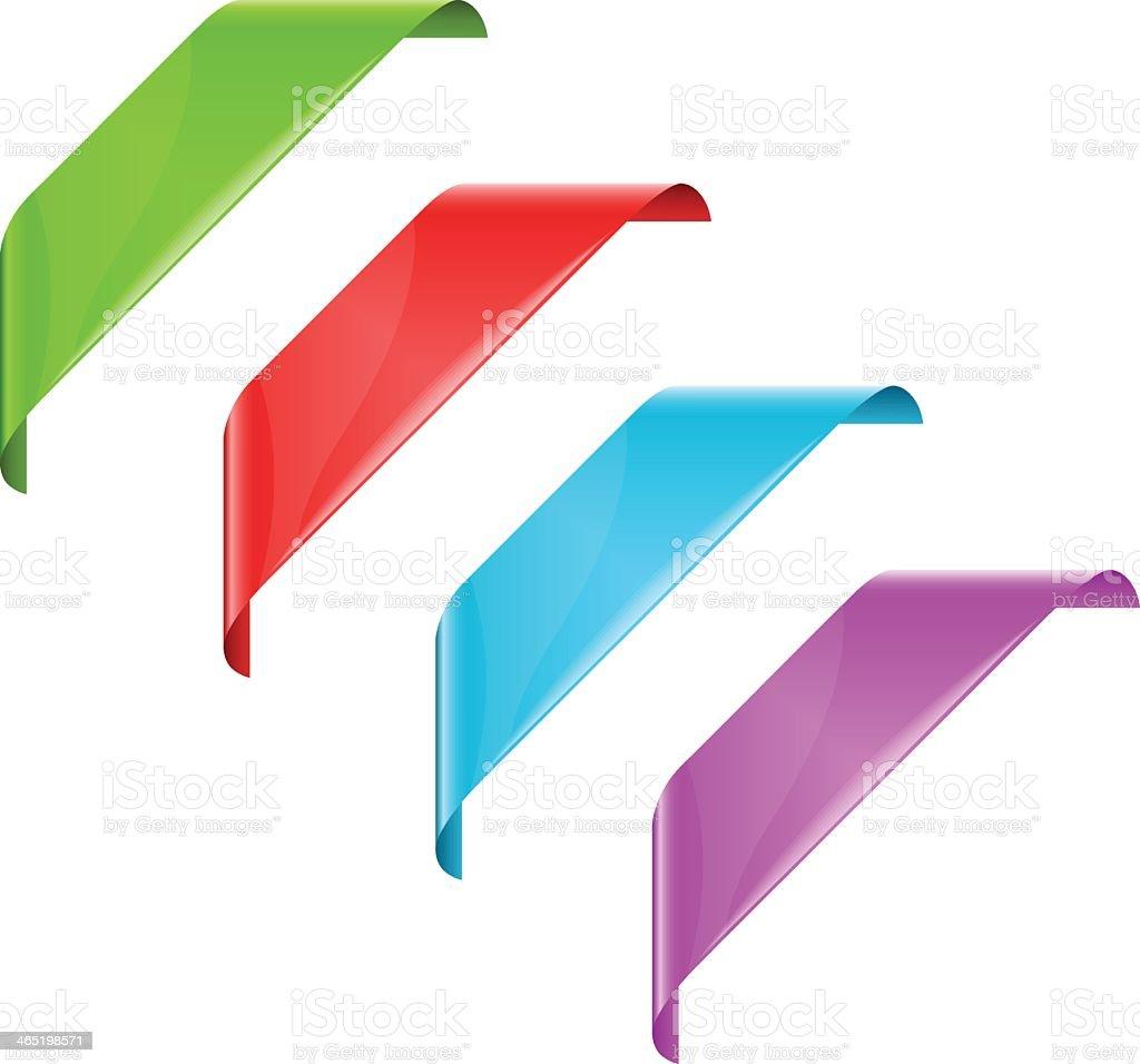 Corner ribbons vector art illustration