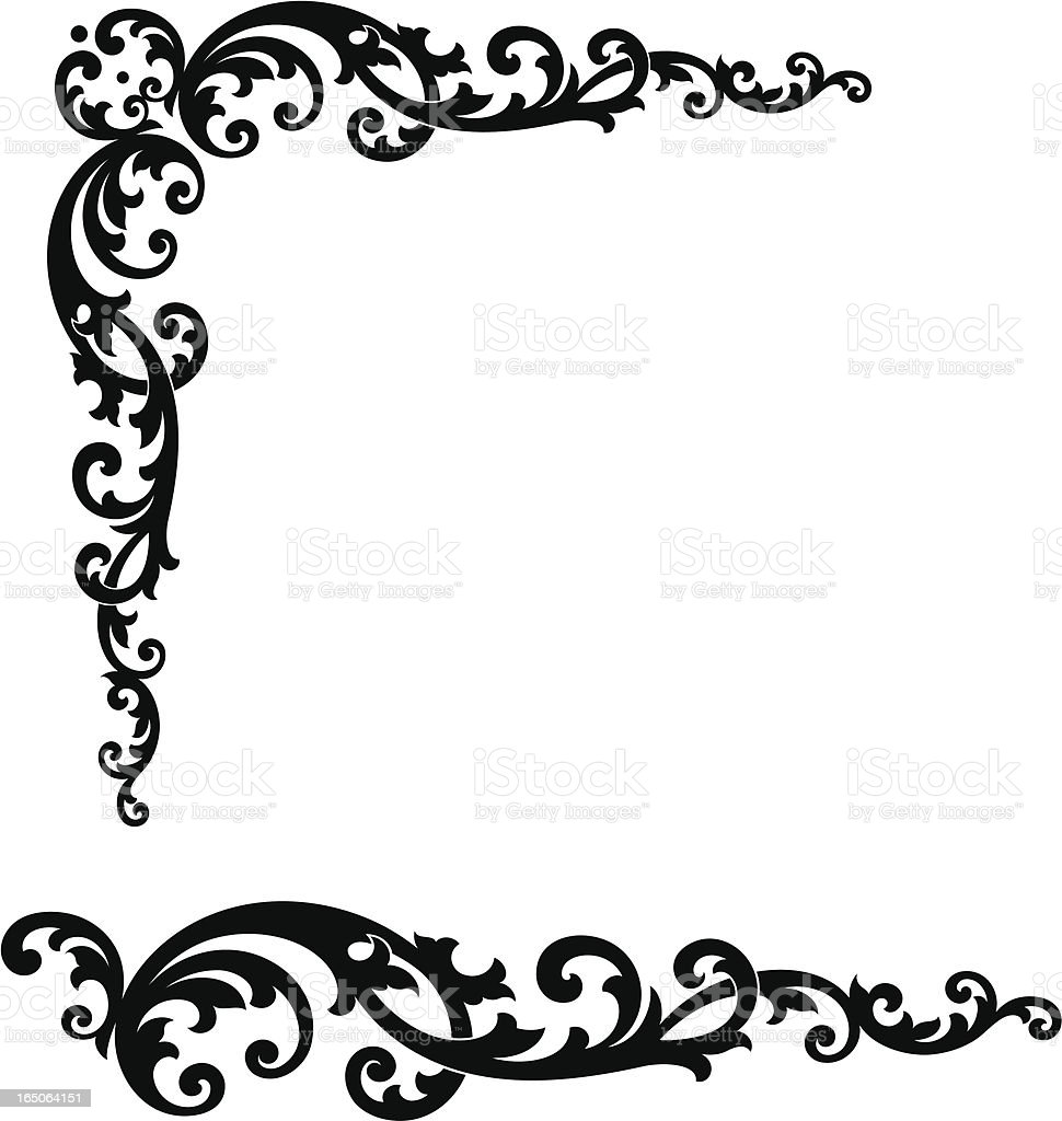 Corner Scroll and end piece vector art illustration