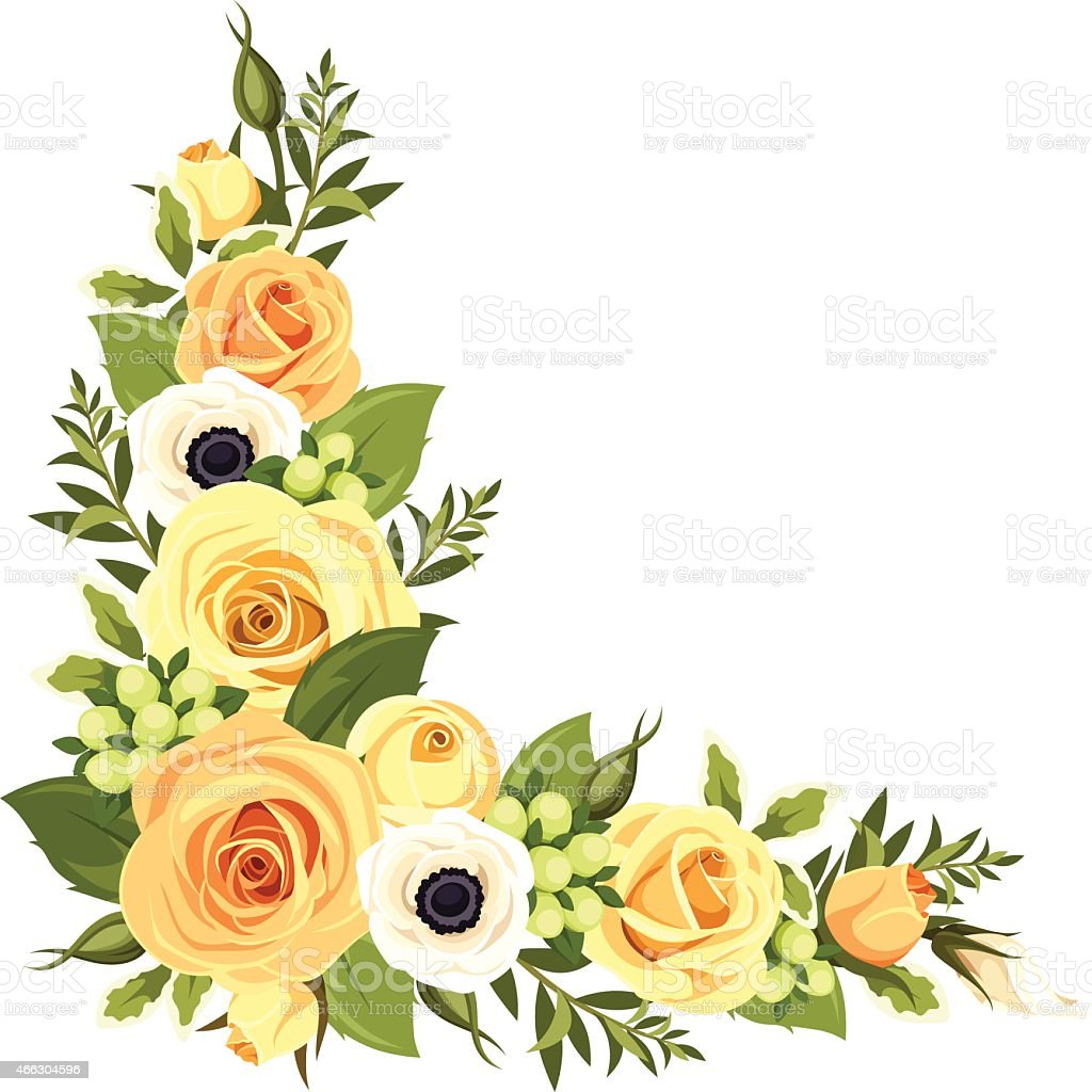 Corner with yellow roses. Vector illustration. vector art illustration