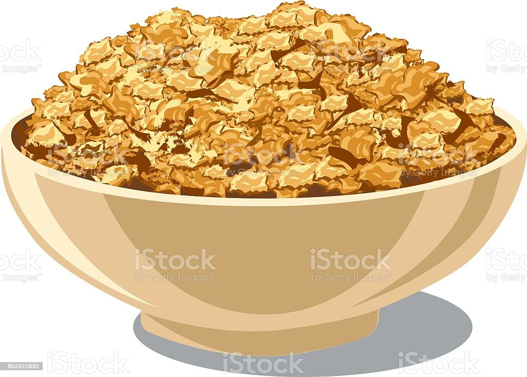 cornflakes in bowl vector art illustration