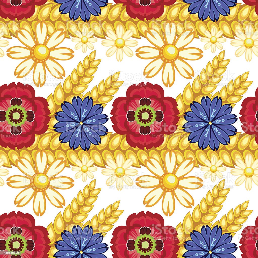 cornflower, camomile and poppy seamless pattern vector art illustration