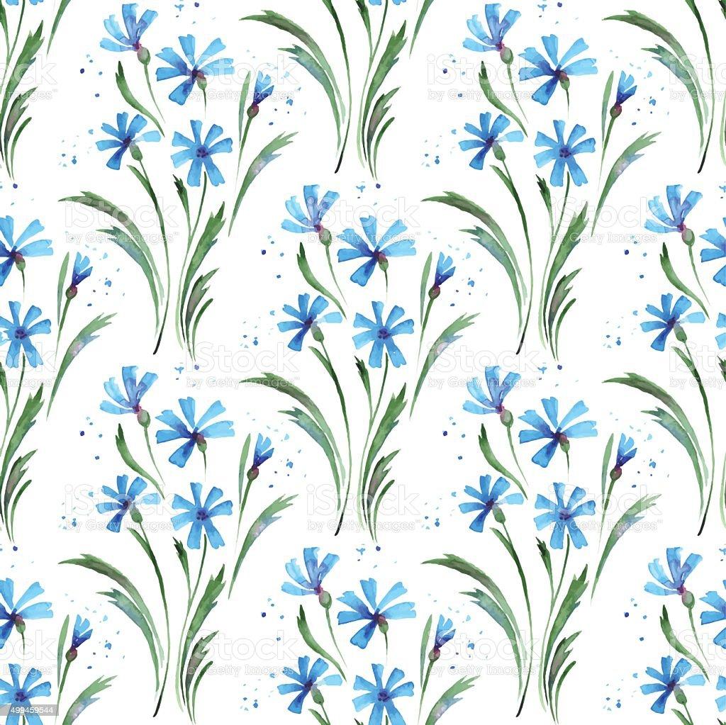 Cornflowers. Seamless vector background vector art illustration