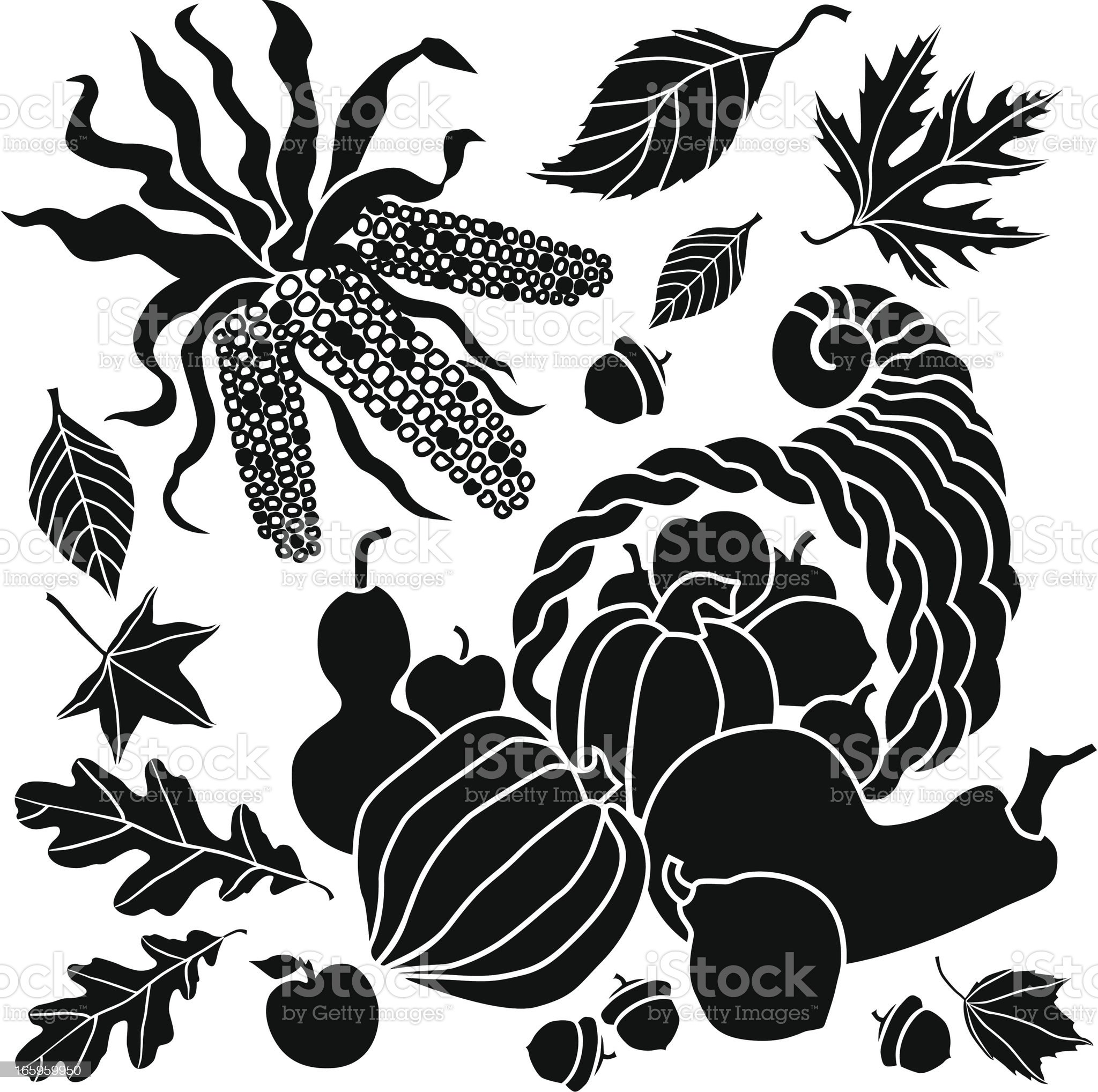 cornucopia and corn royalty-free stock vector art