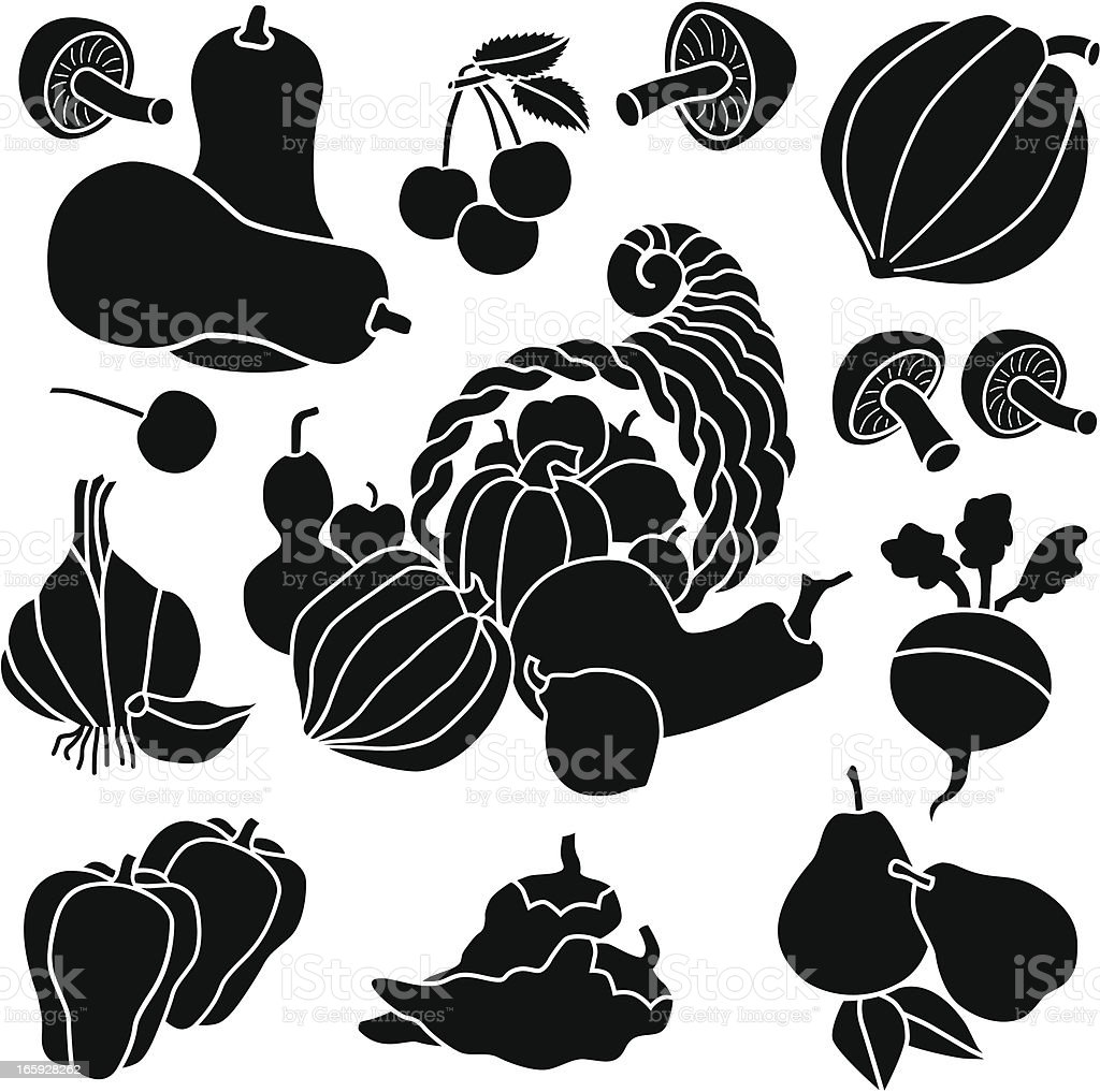 cornucopia and produce icons vector art illustration