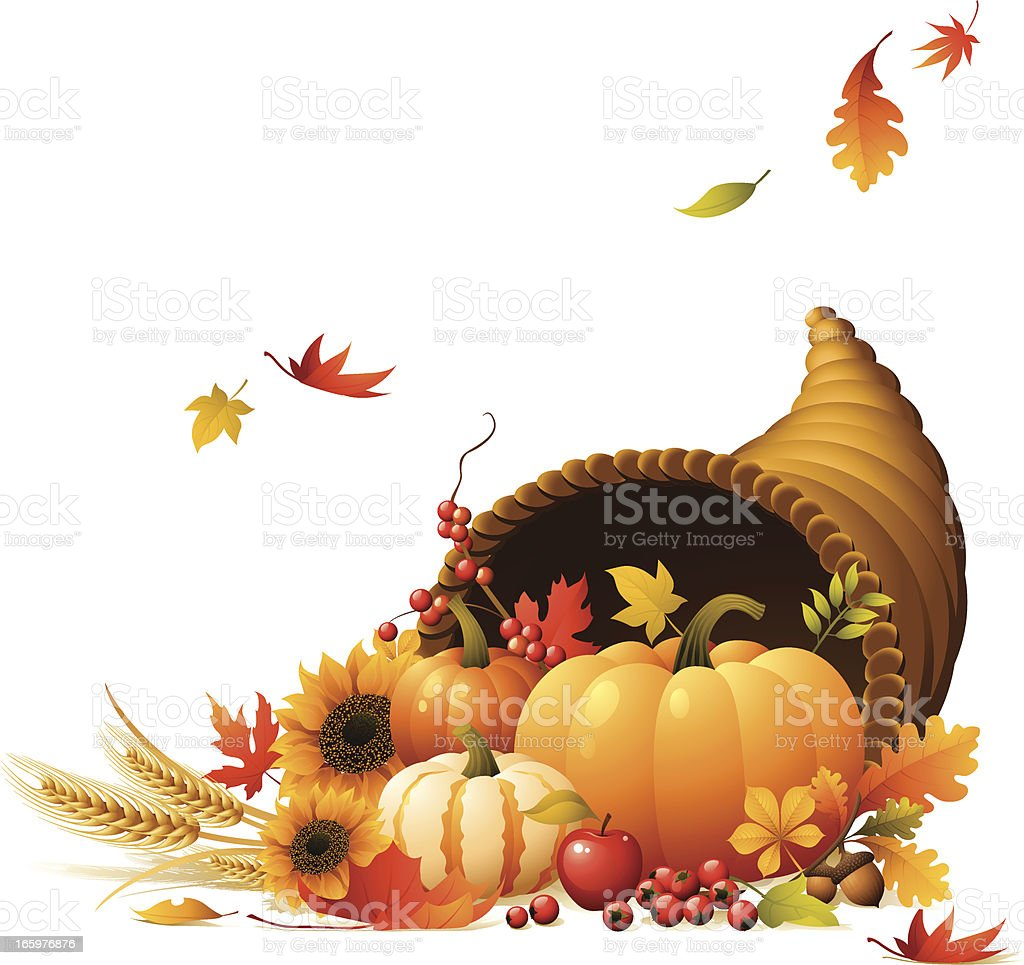 Cornucopia full of pumpkins, berrys, wheat and autumn leaves vector art illustration