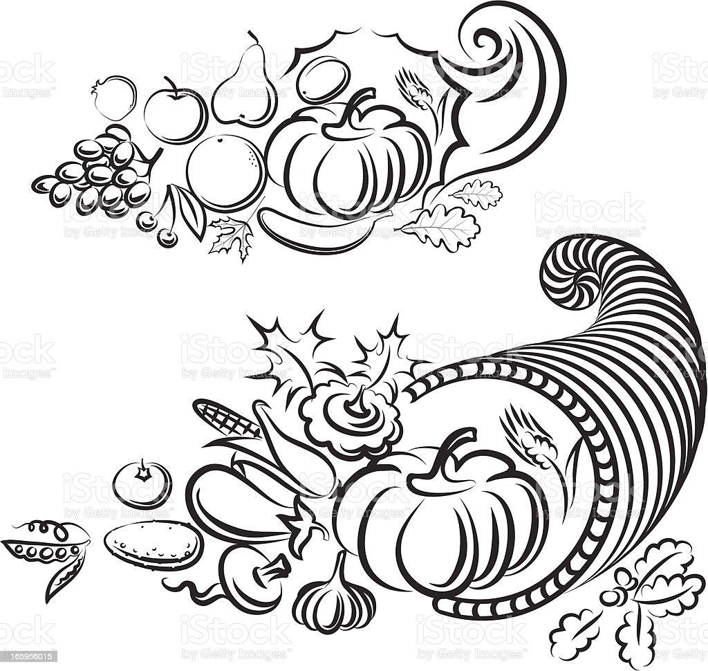 Cornucopia vector art illustration