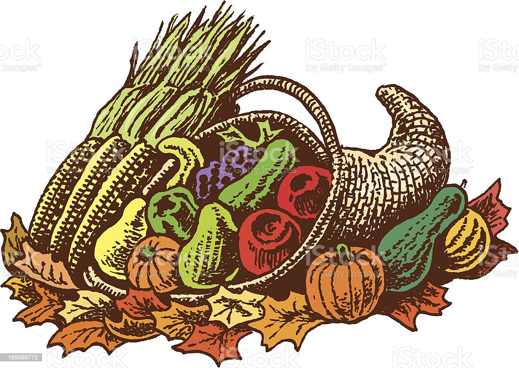 Cornucopia with Fruit, Vegetables and Leaves royalty-free stock vector art
