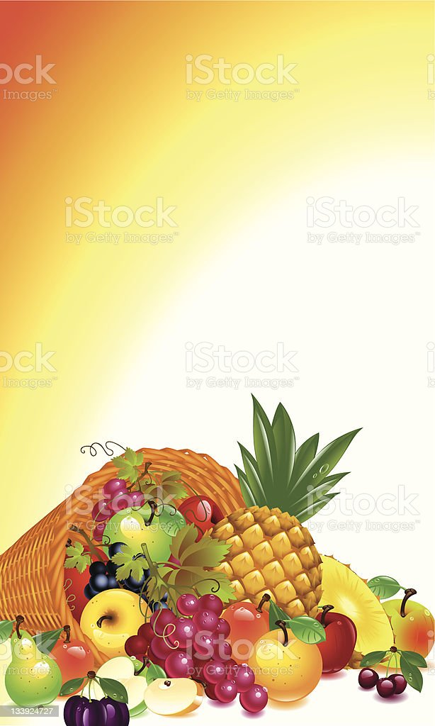 cornucopia with fruits royalty-free stock vector art