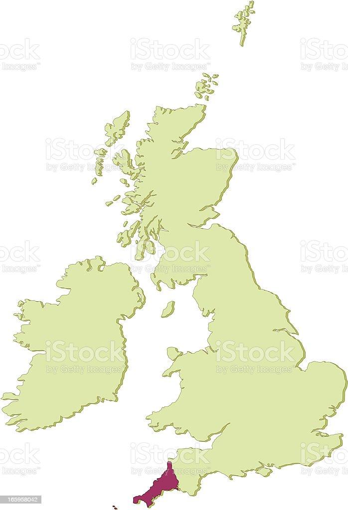UK Cornwall map vector art illustration
