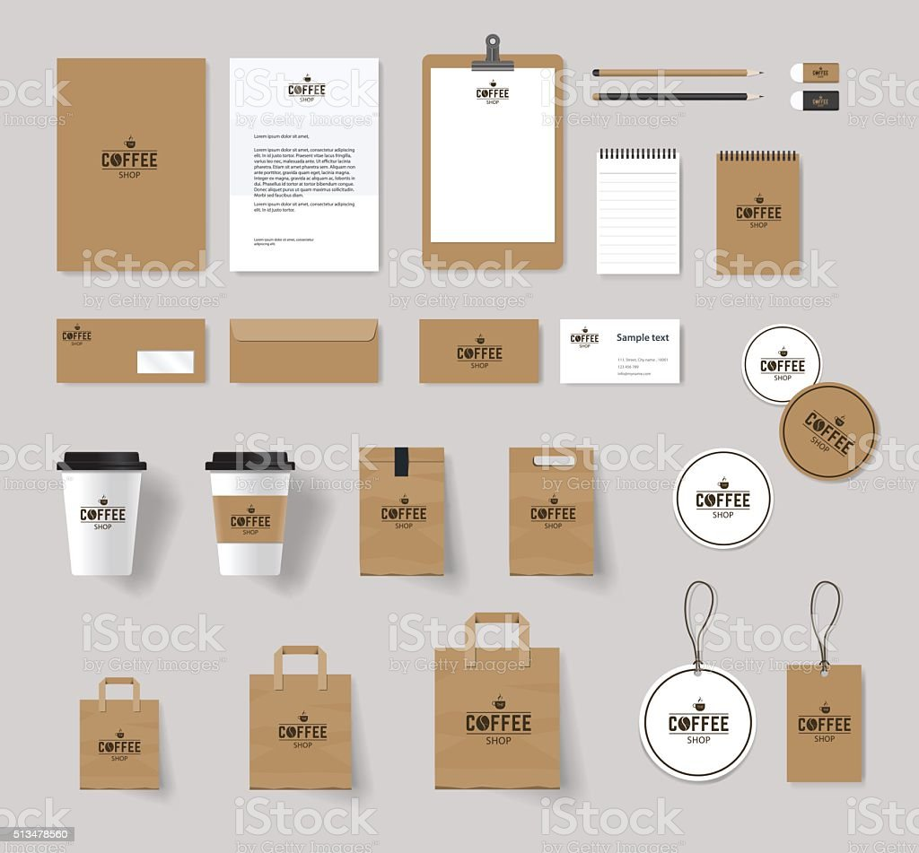 corporate branding identity mock up template vector art illustration