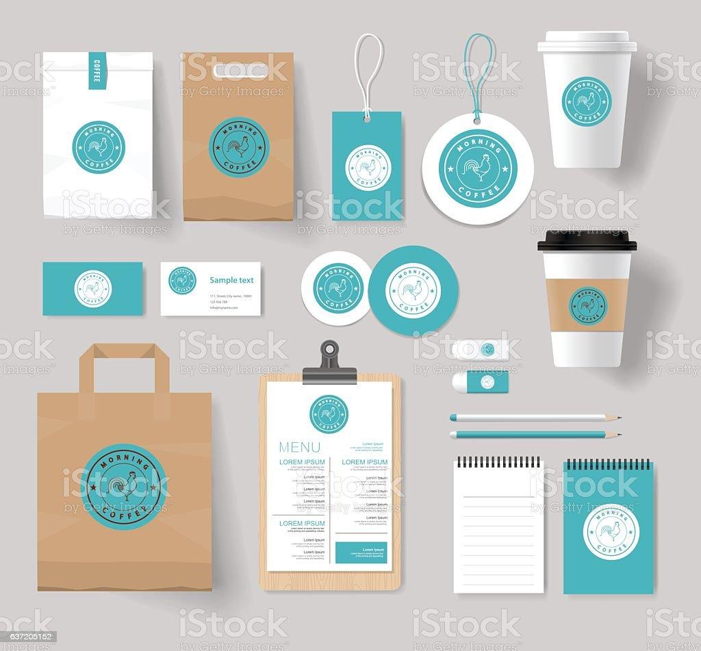 corporate branding identity mock up template vector art illustration