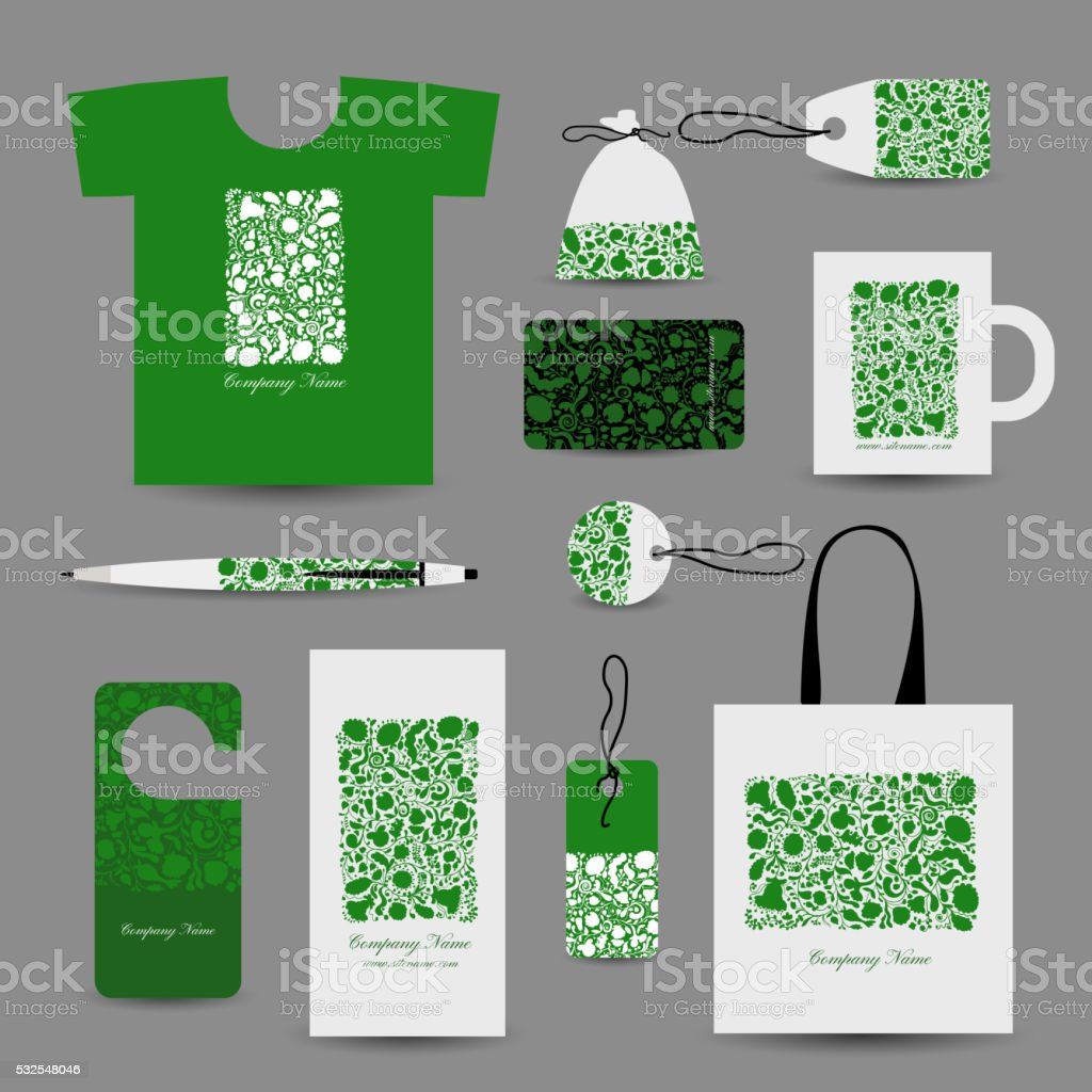 Corporate business cards, floral design vector art illustration